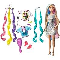 Barbie Cheveux Fantastiques poupée blonde aux longs cheveux brillants avec 2 serre-têtes fantaisie et accessoires, jouet…