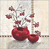 Keilrahmen-Bild - Claudia Ancilotti: Red Berries Leinwandbild Beeren Stillleben modern floral Blumen rot (80x80)