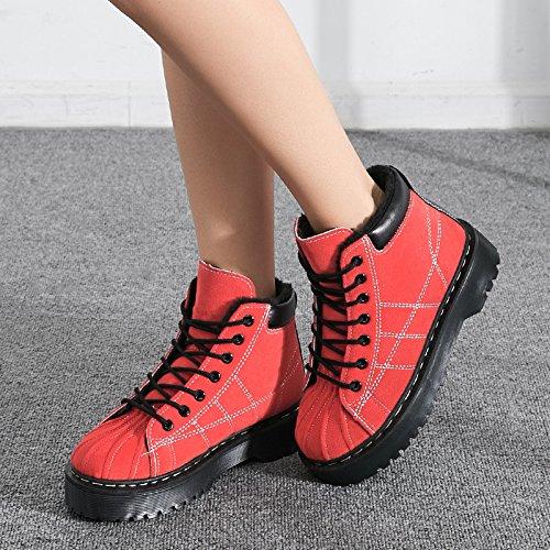 Hiver Martin Bottes Chaussures Femmes Retro Bottines Épais Fond Plat Bottes De Neige Rouge