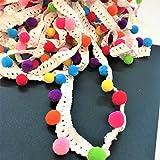 Cinta con pompones multicolor de 1,5cm, venta al metro