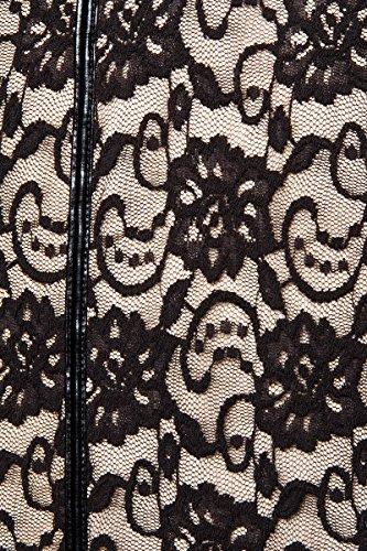 Robe de soirée avec dentelle et transparente, pinces la taille en tissu effet mouillé Multicolore - Multicolore