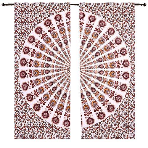 Pfau Multi Farbe, Set von 2Schöner Pfau Mandala Design Vorhang Sheer Tapisserie Wandteppiche Fenster Wohnheim Trennwand Behandlung, Mandala Gardinen Einsätze Paar 82Länge, 2Stück Baumwolle Fenster
