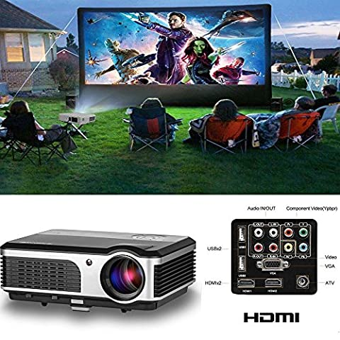 HD Projector For Iphone, CAIWEI Portable LED Home Theater Cinema Projector 1080p HDMI TV Gaming Projector Support USB Stick Apple Products Ipad Mac Laptop Xbox PS4 Bluray DVD Player Video Games Movie Indoor Outdoor Entertain