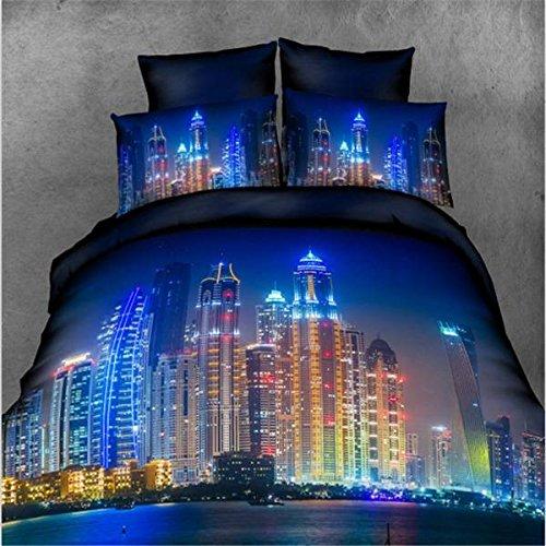 mark8shop 4Anzug 3D Hell erleuchteten City Reactive Färbe-Polyester Faser Betten Sets Queen King Size - City Queen-bett