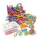 Deanyi Jouets de Construction 130 PCS Bâtons de Construction Flexibles pour Enfants Jouets d'apprentissage STEM Définir Activité pédagogique