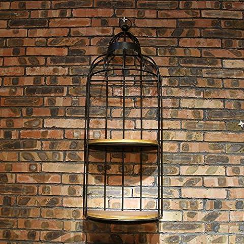 Piume di struzzo di vento vintage industriale fiore in ferro battuto parete mensole divisorie in legno massello , black , 40*20*118