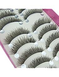 10 Pairs Handmade Black Long Thick Cross Beauty Party Makeup Fake False Eyelashes