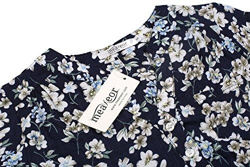 Meaneor Damen Locker Casual Bluse mit allover Blumenprint Beiläufig Bluse Schluppenbluse Klassic Hemd Blusenshirt Loose fit Baumwolle Marine+Blumen