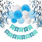 Geburtstag Dekoration Set, Recosis Happy Birthday Girlande mit Spiralen Dekoration und Seidenpapier Pompoms Kindergeburtstag Deko für Mädchen und Jungen Jeden Alters - Blau, Hellblau und Weiß