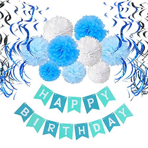 Recosis HAPPY BIRTHDAY Bannière Joyeux Anniversaire avec 15 Guirlandes Verticales et 9 Pompon Papier de Soie pour Fête Anniversaire, Bleu 0734010940727
