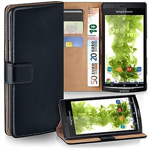 OneFlow Tasche für Sony Ericsson Xperia Arc S Hülle Cover mit Kartenfächern | Flip Case Etui Handyhülle zum Aufklappen | Handytasche Schutzhülle Zubehör Handy Schutz Bumper in Schwarz