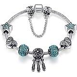 Qings Argento Placcato Fascino Braccialetto con Cubic Zirconia Perline Blu Regali di Festa per Donne Ragazze