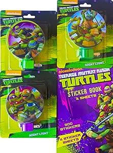 Teenage Mutant Ninja Turtles Children's Night Light Pack of 3 the Perfect Children's Room Decorations with Bonus Teenage Mutant Ninja Turtles Sticker Book