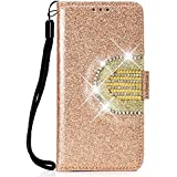 Lomogo Glitter Huawei P20 Case Leather Wallet Case with Kickstand Card Holder Shockproof Flip Case Cover for Huawei P20 - LOHHA090234 Gold