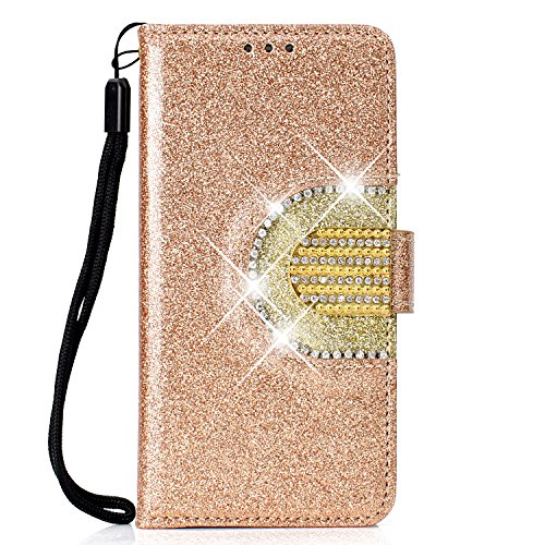 Coque Samsung Galaxy S8,Luxe Diamant Strass Coque pour Galaxy S8,Galaxy S8 Housse Étui en PU Cuir à Rabat Portefeuille 5 Fentes de Carte et Mirror Make up Flip Protective Case,Or