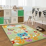 Alfombra infantil, Öko Tex, búho, multicolor, crema, verde, turquesa, rosa y naranja, diferentes tamaños, verde, 80 cm_x_150 cm