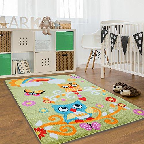 Blüte Grün-teppich (Kinder Teppich Moda Öko Tex Eule grün bunt verschiedene Größen 160x225 cm)