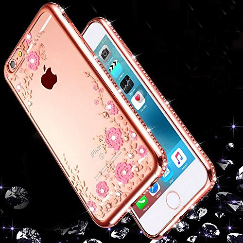 Custodia iPhone 7 Glitter, iPhone 7 Cover Silicone, SainCat Cover per iPhone 7 Custodia Silicone Morbido, Bling Glitter Strass Diamante 3D Design Custodia in TPU Transparent Silicone Case Ultra Slim M Rose Gold