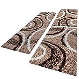 PHC Bettumrandung Läufer Shaggy Hochflor Teppich Muster Braun Beige Läuferset 3 Tlg, Grösse:2mal 70x140 1mal 70x250
