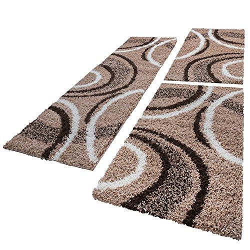 Bettumrandung Läufer Shaggy Hochflor Teppich Muster Braun Beige Läuferset 3 Tlg, Grösse:2mal 70x140 1mal 70x250