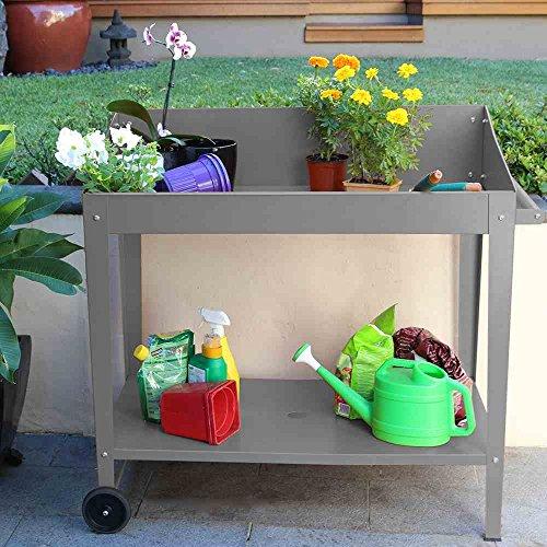 Siena Garden Pflanztisch, mit Griff & Rollen, Stahl, 100x55x101cm, grau, 557043