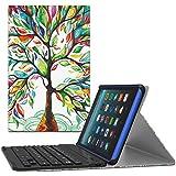 MoKo Funda Para Nuevo Amazon Fire 7 Tableta ( 7 pulgadas, 7ª generación, modelo de 2017) - Cubierta inalámbrica del teclado de Bluetooth con el despertar / el sueño auto para All-New Amazon Fire 7, Álbo de la Suerte