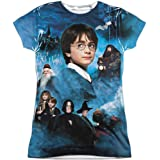 Trevco Harry Potter First Year (Front/Back Print) Juniors Sublimation Polyester Shirt (White, Large)