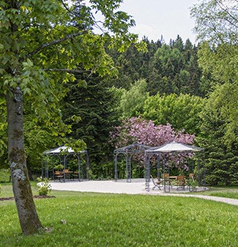 ELEO Florenz runder Eisenpavillon mit Sonnensegel, Ø 3,7 Meter (Oberfläche: anthrazit duplexbeschichtet) - 4