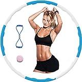 AolKee Afneembare hoelahoep fitness voor volwassen kinderen, Wave-oefening Hula Hoop-golfschuim met oefenband 8-vormig, heupl