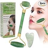Rodillo De Jade,Facial Masaje Piedra Gua Sha Jade, Masajeador Roller Tools Anti Aging Belleza Natural Dispositivo Herramienta