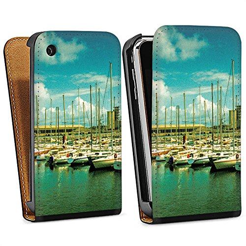 Apple iPhone 4 Housse Étui Silicone Coque Protection Port Bateaux Bateaux Sac Downflip noir