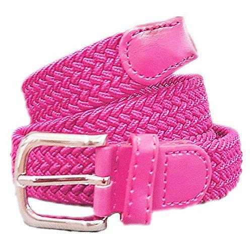 Unisex Flechtgürtel elastisch Damen Herren Gürtel geflochten Stretch ES (Pink)