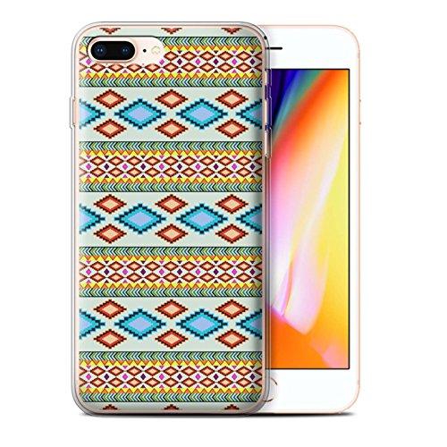 Stuff4 Gel TPU Hülle / Case für Apple iPhone 8 Plus / Lila/Rot Muster / Aztekische Stammes Muster Kollektion Blau/Rot