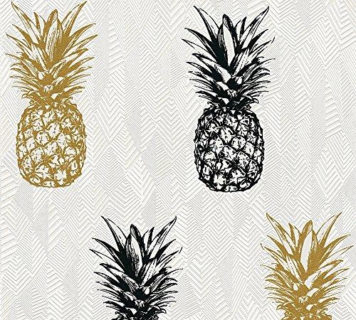 A.S. Création Vliestapete Club Tropicana Tapete mit Ananas 10,05 m x 0,53 m creme schwarz weiß Made in Germany 359971 35997-1 (Creme Schwarz Und Tapete)