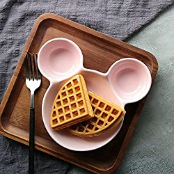 Generic Cute Ceramic Plate Mickey Minnie Shape Dishes for Kids Creative Porcelain Plate Snack Tray Food Container Tableware Gift [pink]