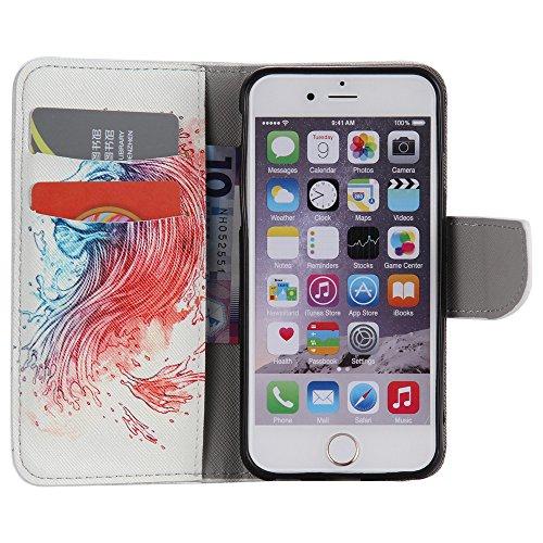 Nancen Apple iphone 6 / 6S (4,7 Zoll) Handy Lederhülle, Flip Case Wallet Cover with Stand Function, Folio Bookstyle Handytasche Soft Silikon Bunte Muster Tasche PU Leder Slim Shell Handyhülle. Löwe