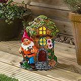 Christow Solar Powered Gnome Fairy House LED Garden Light Outdoor Ornament Mushroom