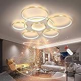Plafonnier LED Salon Simplicité Moderne Lampe Plafond Rond 7 Anneaux Avec Télécommande Dimmable Décoration Acrylique Plafonni