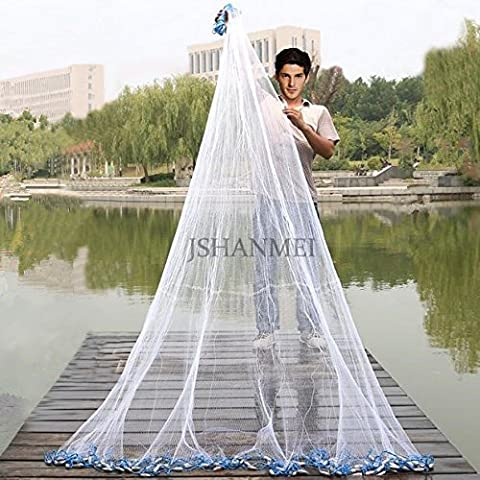 JSHANMEI Handmade American Saltwater Fishing Cast Net for Bait Trap Fish 5ft/6ft/7ft/8ft/9ft/10ft Radius, 3/8inch Mesh Size,1 Pound (With A Bucket)