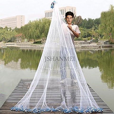 jshanmei handgefertigt American Salzwasser Angeln Net für Köder Trap Fisch 5ft/1,8M/2,1/2,4m/9FT/Gartenzelt, 3/20,3cm Mesh Größe, 1Pfund (mit einen Eimer), 6feet*3/8inch