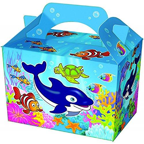 German Trendseller 8 x Unterwasser Welt Party Boxen mit Griff zum Befüllen ┃ Unterwasser Welt ┃ Kindergeburtstag