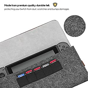 ProCase Nintendo Switch Carrying Case, Portable Travel Carrying Bag Ultra Slim Protective Felt Pouch for Nintendo Switch 2017 with 5 Game Cartridges Holders