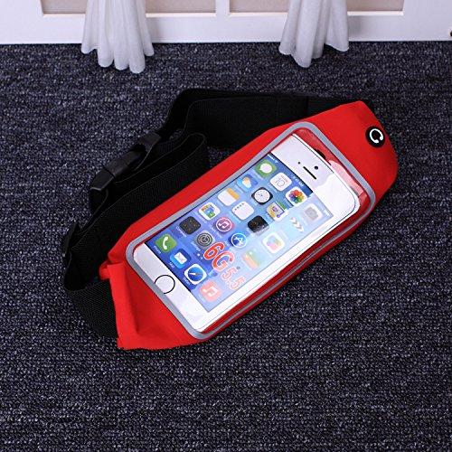 EKINHUI Case Cover mit gürtel taille packen, sweatproof reflektierenden gürtel taille tasche für iphone 65 / 6 und transparenten touchscreen fenster, universal sports taillengürtel mit zusätzlichen ex Red