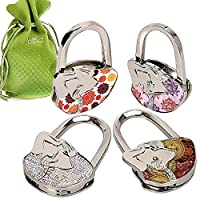 BMC Cute 4pc Mixed Designed Shoulder Handbag Folding Purse Holder Hangers Hooks Set - Live, Laugh, Yoga