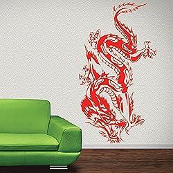 Dragón de arrastre oriental Fantasía Dragones vinilos decorativos Inicio decoración art pegatinas disponible en 5 tamaños y 25 colores Extra pequeño Musgo Verde