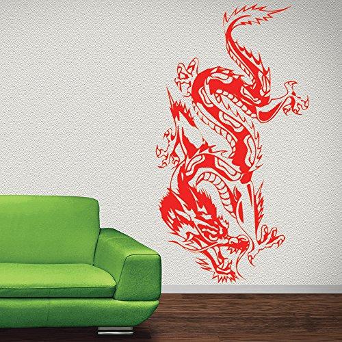 Chinesischer Drache Wandaufkleber Tiere Fantasie Wandtattoo Jungen Schlafzimmer Wohnkultur verfügbar in 5 Größen und 25 Farben Extraklein Zitrone Gelb