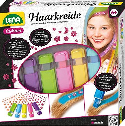 Lena 42536 - Fashion Set Haarkreide und Haartattoos, Komplettset zum Stylen und Färben von Mädchenhaaren mit Ölkreide in 5 Pastellfarben und 126 Tattoos für Haare, Stylingset für Kinder ab 6 Jahre
