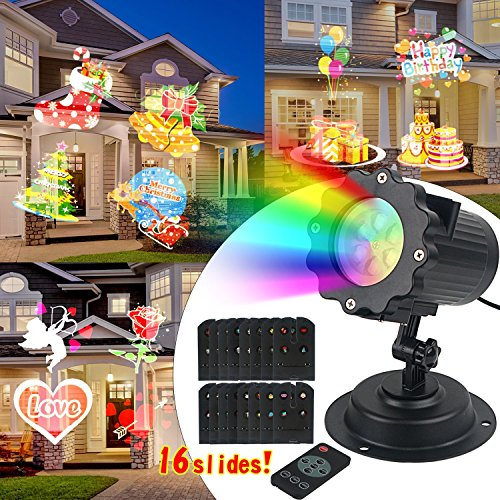 Telecomando Lampada Luci a LED 16-in-1 Natale decorazioni Impermeabile Spot illuminazione con Halloween Compleanno Fiocchi di neve Stelle Farfalle Cuori Foglie d'acero Trifoglio (16 Foglio)