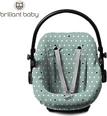 BriljantBaby BabyFit ** Universal Sommerbezug / Schonbezug 100% Baumwolle Interlock-Jersey ** Für Babyschale, Autositz, z.B. Maxi Cosi CabrioFix, Citi, Pebble u.a. (Crizz Crozz Stone GREEN)