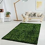 myShop24h Hochflor Shaggy Shabby Teppich Langflor weicher-Flor Farben Polyester lichtecht glänzend Wohnzimmer Schlafzimmer, Farbe:Grün, Größe in cm:120 x 170 cm